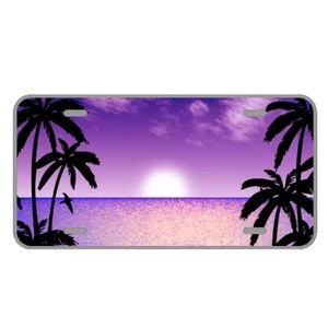 Custom license plate with purple sunset add names
